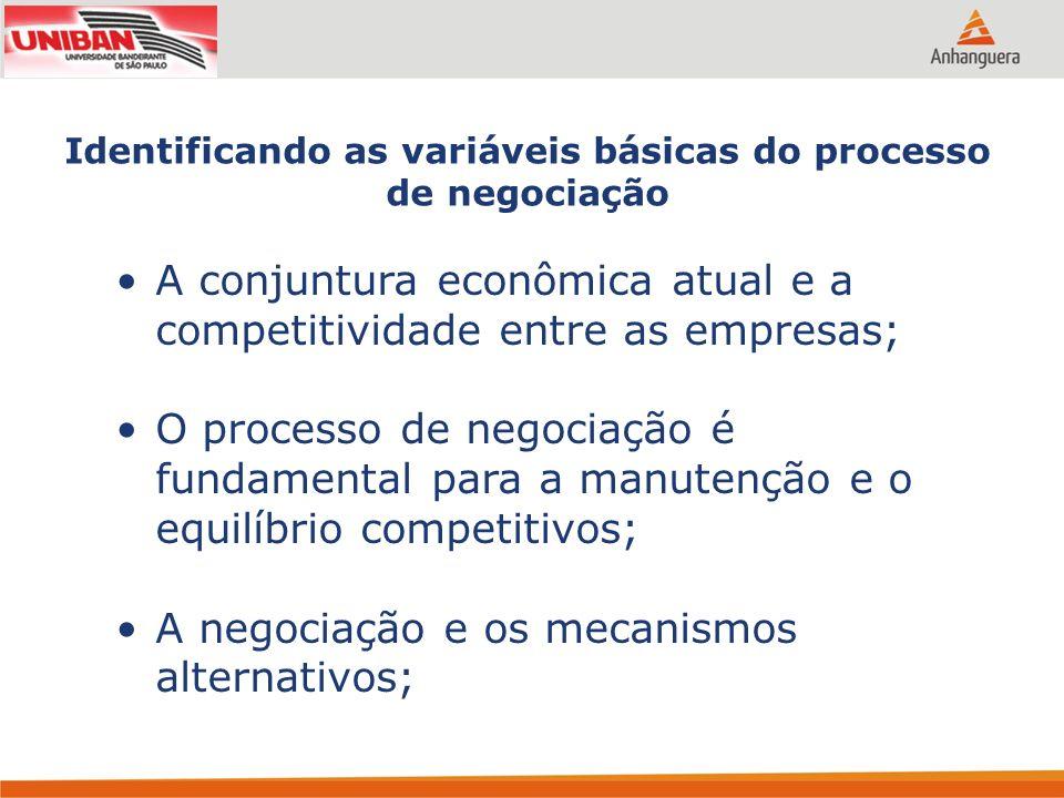 Identificando as variáveis básicas do processo de negociação A conjuntura econômica atual e a competitividade entre as empresas; O processo de negocia