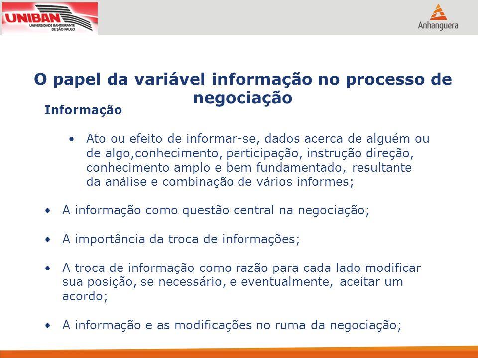 O papel da variável informação no processo de negociação Informação Ato ou efeito de informar-se, dados acerca de alguém ou de algo,conhecimento, part