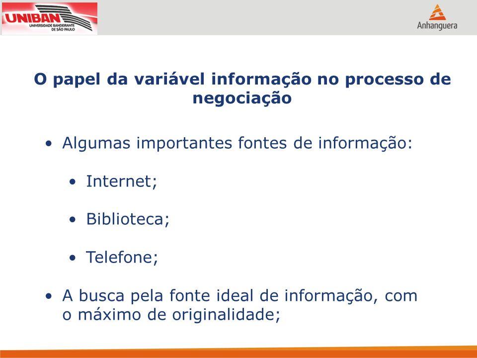O papel da variável informação no processo de negociação Algumas importantes fontes de informação: Internet; Biblioteca; Telefone; A busca pela fonte