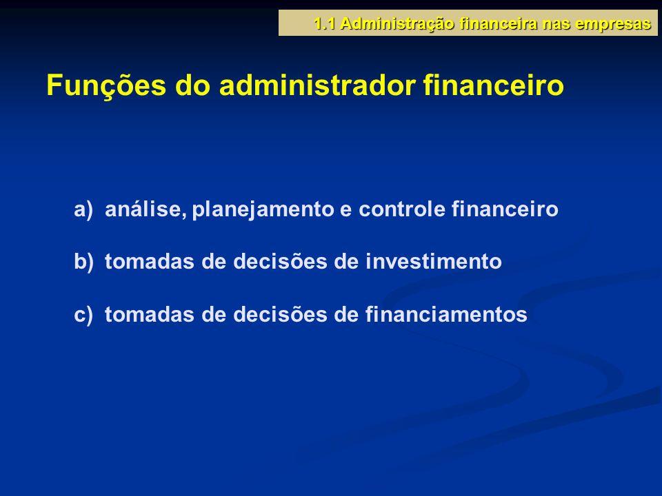 a) análise, planejamento e controle financeiro b) tomadas de decisões de investimento c) tomadas de decisões de financiamentos 1.1 Administração finan