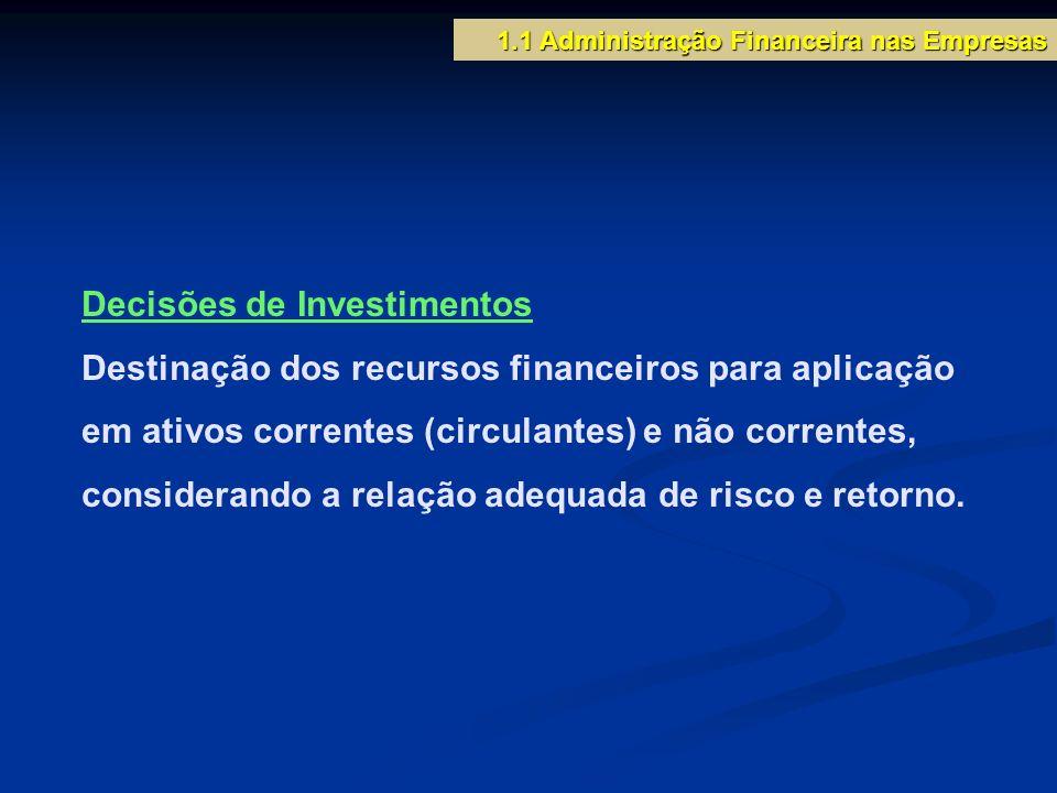 Decisões de Investimentos Destinação dos recursos financeiros para aplicação em ativos correntes (circulantes) e não correntes, considerando a relação