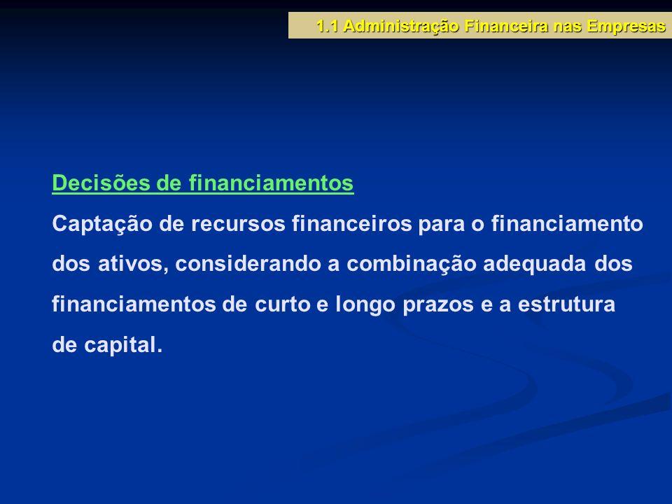 Decisões de financiamentos Captação de recursos financeiros para o financiamento dos ativos, considerando a combinação adequada dos financiamentos de