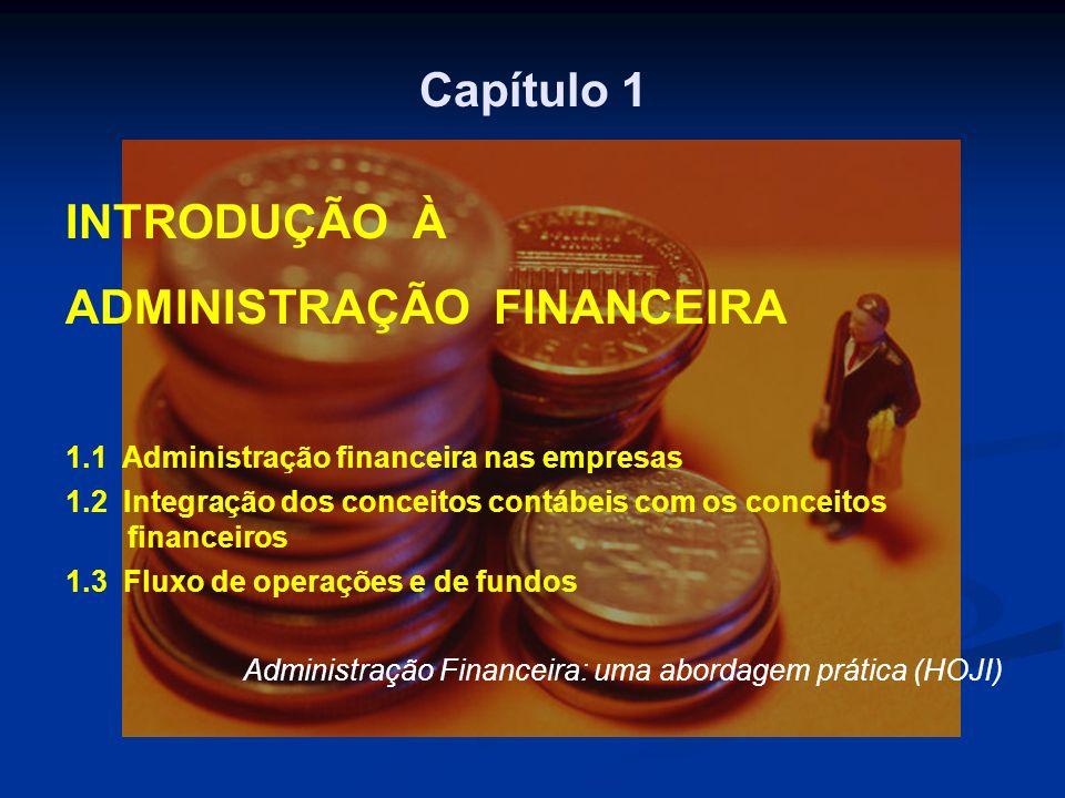 Capítulo 1 INTRODUÇÃO À ADMINISTRAÇÃO FINANCEIRA 1.1 Administração financeira nas empresas 1.2 Integração dos conceitos contábeis com os conceitos fin