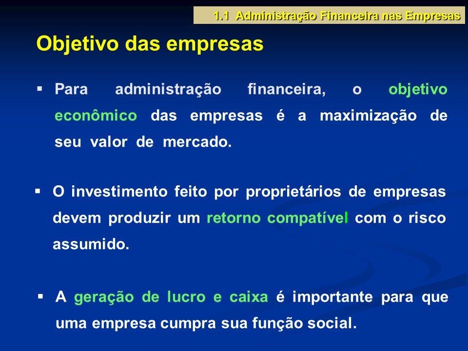 Para administração financeira, o objetivo econômico das empresas é a maximização de seu valor de mercado. 1.1 Administração Financeira nas Empresas Ob