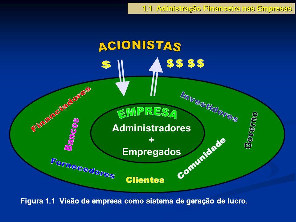 Administradores + Empregados Figura 1.1 Visão de empresa como sistema de geração de lucro. 1.1 Adinistração Financeira nas Empresas
