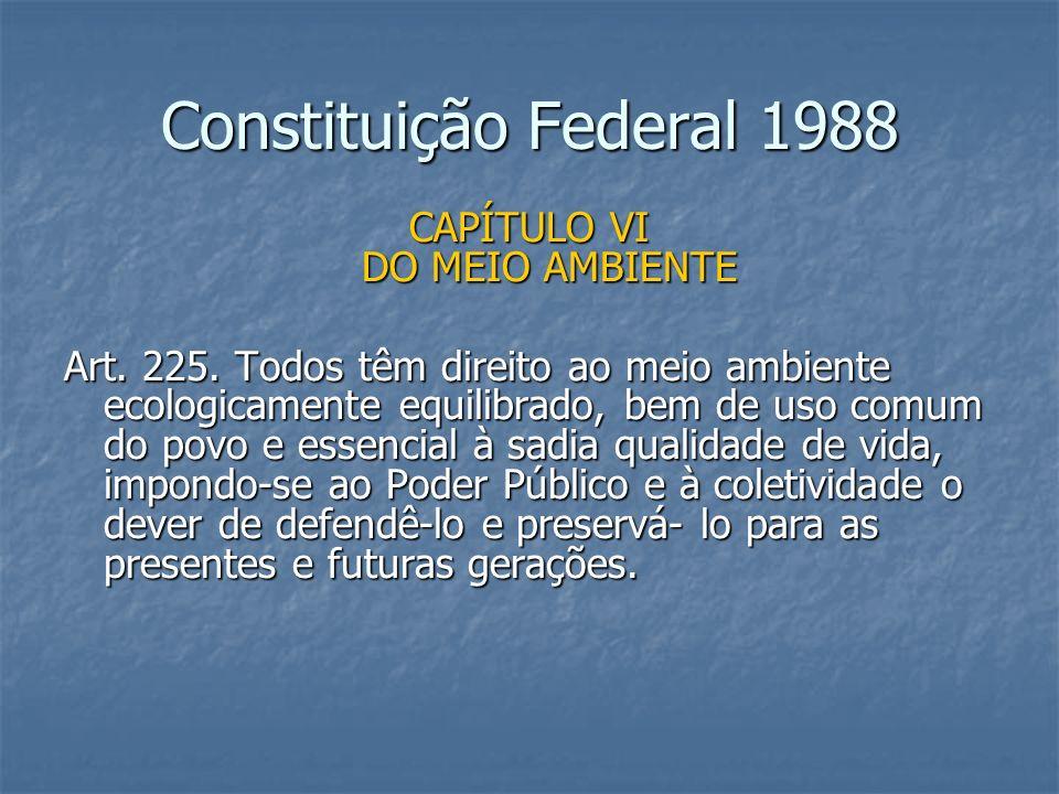 Constituição Federal 1988 CAPÍTULO VI DO MEIO AMBIENTE Art. 225. Todos têm direito ao meio ambiente ecologicamente equilibrado, bem de uso comum do po