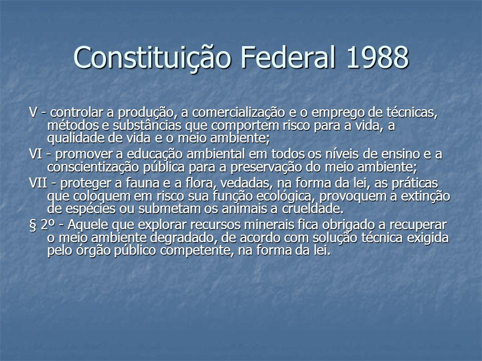 Constituição Federal 1988 V - controlar a produção, a comercialização e o emprego de técnicas, métodos e substâncias que comportem risco para a vida,