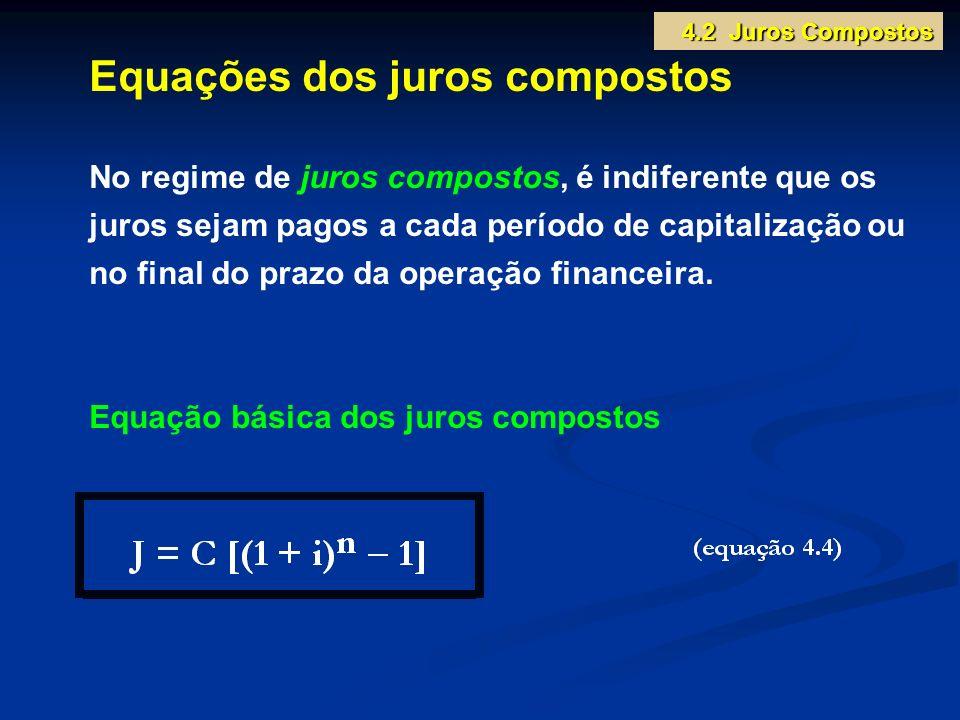 Equações dos juros compostos No regime de juros compostos, é indiferente que os juros sejam pagos a cada período de capitalização ou no final do prazo