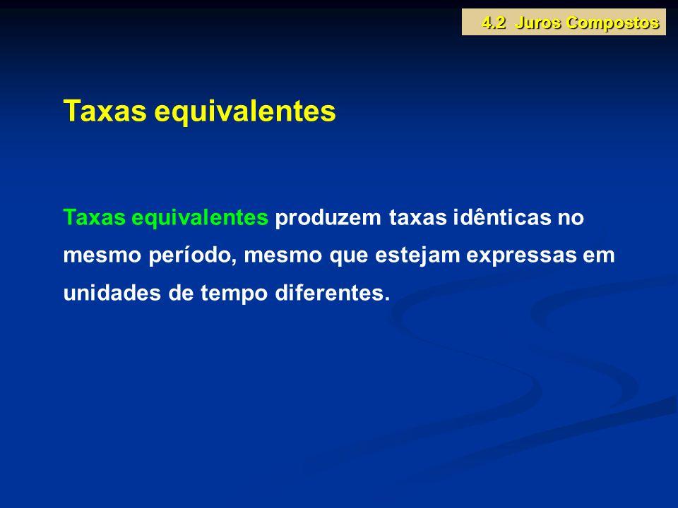 Taxas equivalentes Taxas equivalentes produzem taxas idênticas no mesmo período, mesmo que estejam expressas em unidades de tempo diferentes. 4.2 Juro