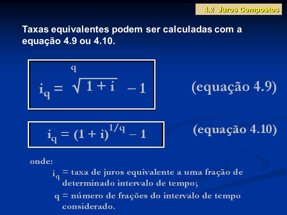 Taxas equivalentes podem ser calculadas com a equação 4.9 ou 4.10. 4.2 Juros Compostos
