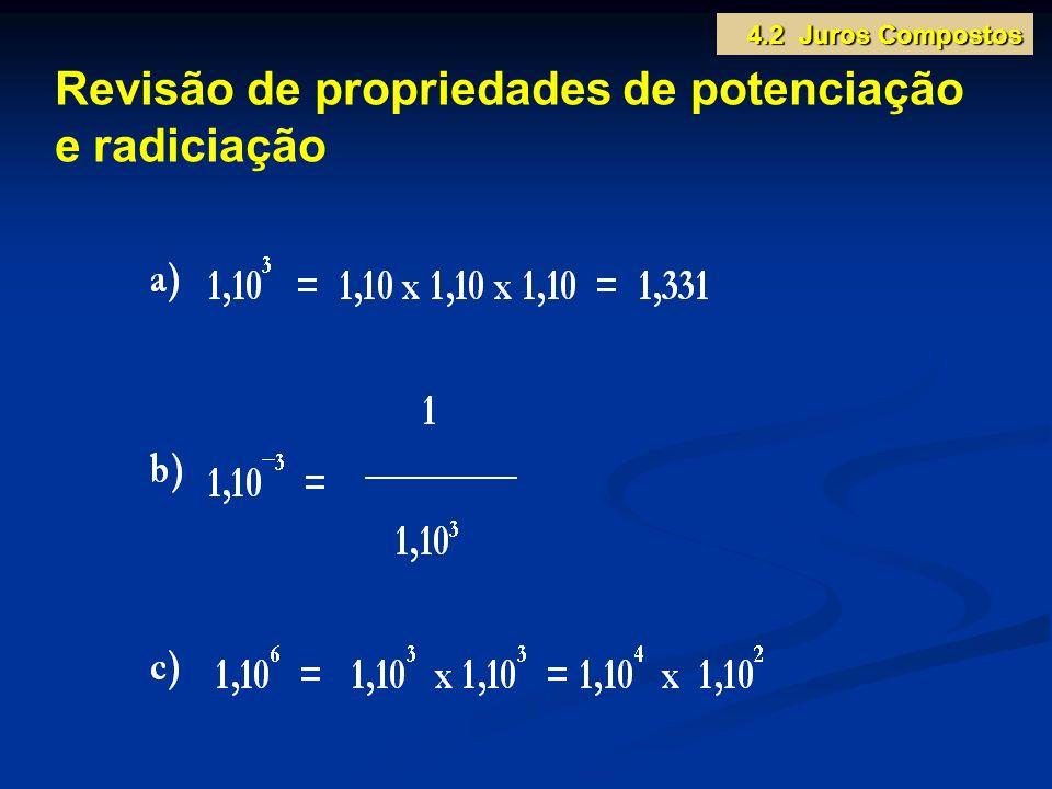 Revisão de propriedades de potenciação e radiciação 4.2 Juros Compostos