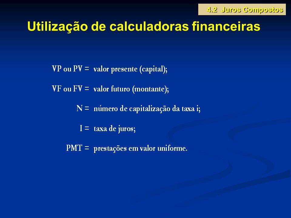 Utilização de calculadoras financeiras 4.2 Juros Compostos