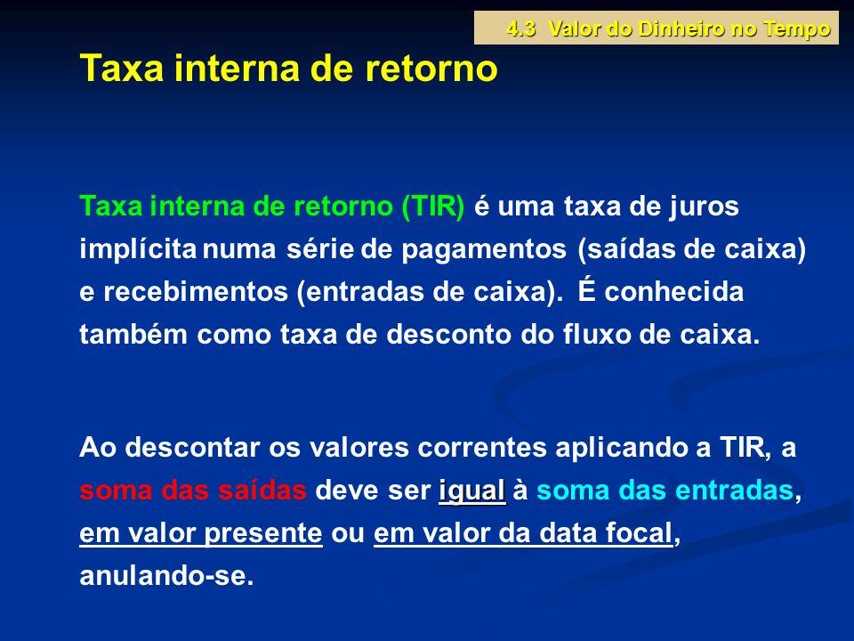 Taxa interna de retorno Taxa interna de retorno (TIR) é uma taxa de juros implícita numa série de pagamentos (saídas de caixa) e recebimentos (entrada