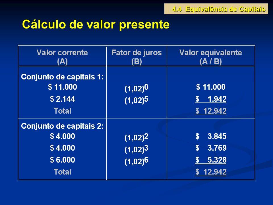 Cálculo de valor presente 4.4 Equivalência de Capitais