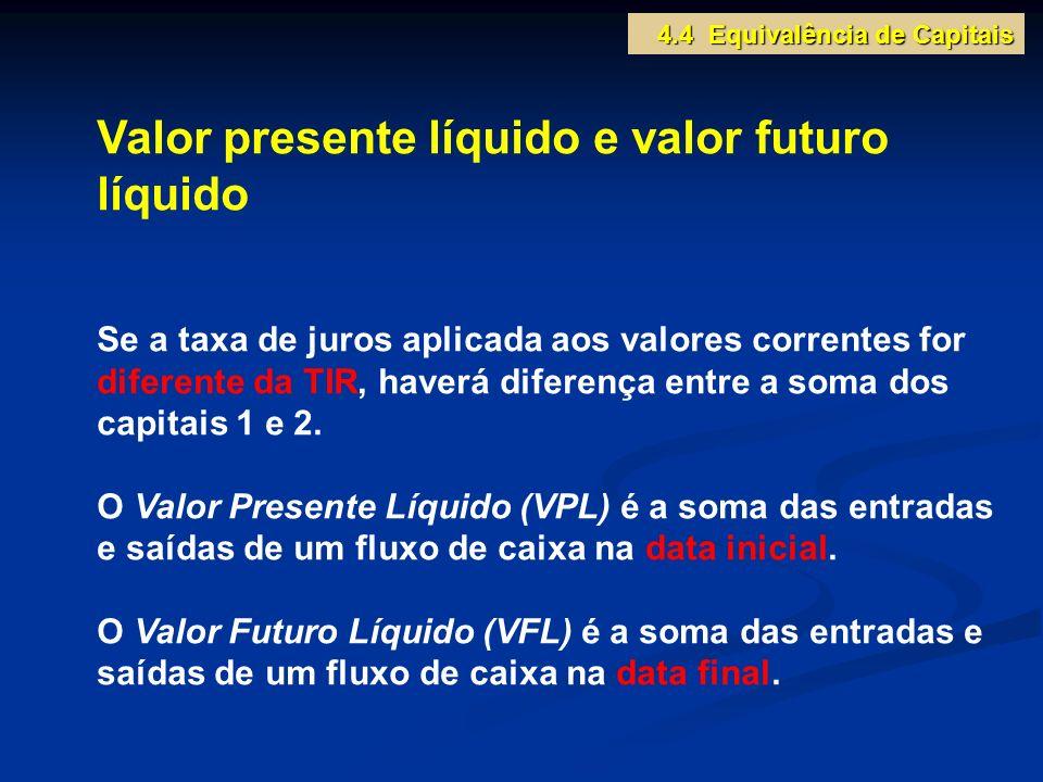 Valor presente líquido e valor futuro líquido Se a taxa de juros aplicada aos valores correntes for diferente da TIR, haverá diferença entre a soma do