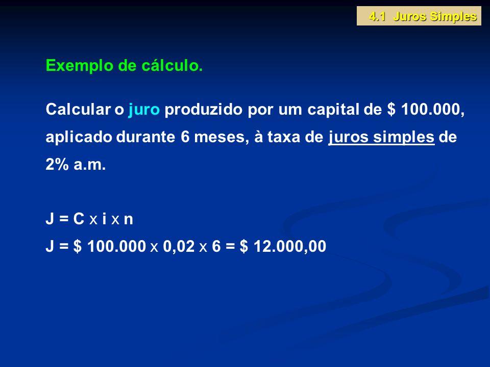 Exemplo de cálculo. Calcular o juro produzido por um capital de $ 100.000, aplicado durante 6 meses, à taxa de juros simples de 2% a.m. J = C x i x n
