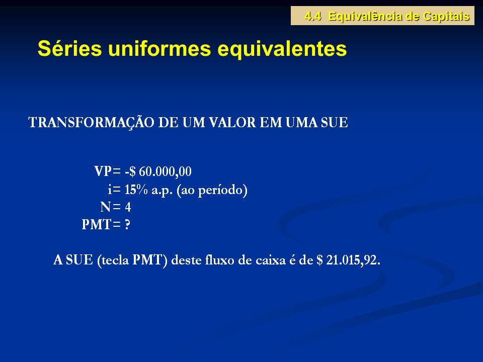 Séries uniformes equivalentes 4.4 Equivalência de Capitais