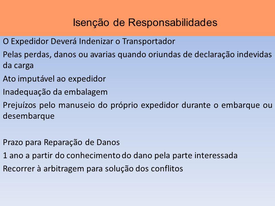 O Expedidor Deverá Indenizar o Transportador Pelas perdas, danos ou avarias quando oriundas de declaração indevidas da carga Ato imputável ao expedido