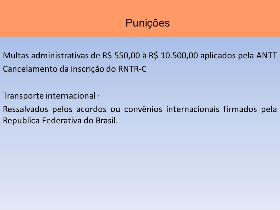 Multas administrativas de R$ 550,00 à R$ 10.500,00 aplicados pela ANTT Cancelamento da inscrição do RNTR-C Transporte internacional · Ressalvados pelo