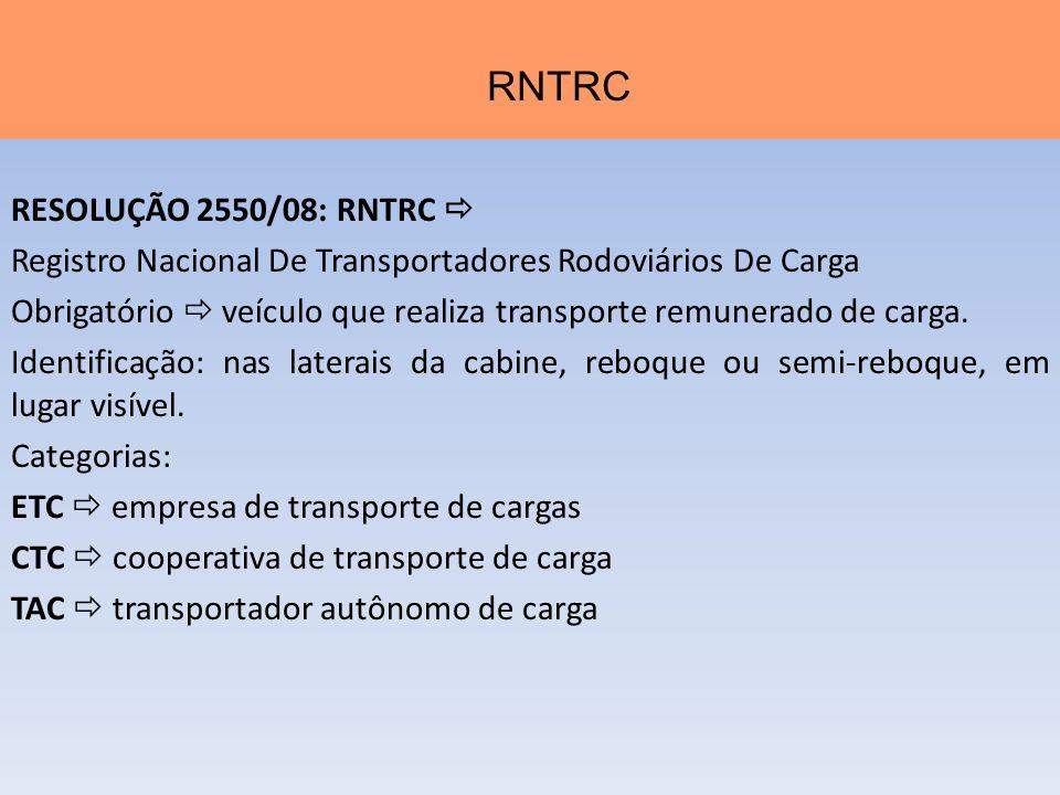 RESOLUÇÃO 2550/08: RNTRC Registro Nacional De Transportadores Rodoviários De Carga Obrigatório veículo que realiza transporte remunerado de carga. Ide
