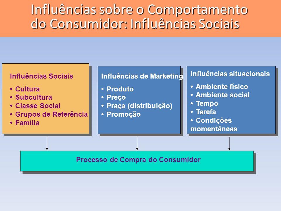 Influências Sociais CulturaSubculturaClasse SocialGrupos de ReferênciaFamília Influências de Marketing ProdutoPreçoPraça (distribuição)Promoção Influê