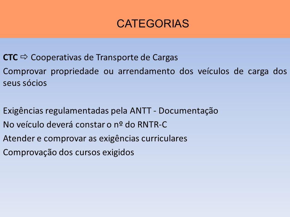 CTC Cooperativas de Transporte de Cargas Comprovar propriedade ou arrendamento dos veículos de carga dos seus sócios Exigências regulamentadas pela AN