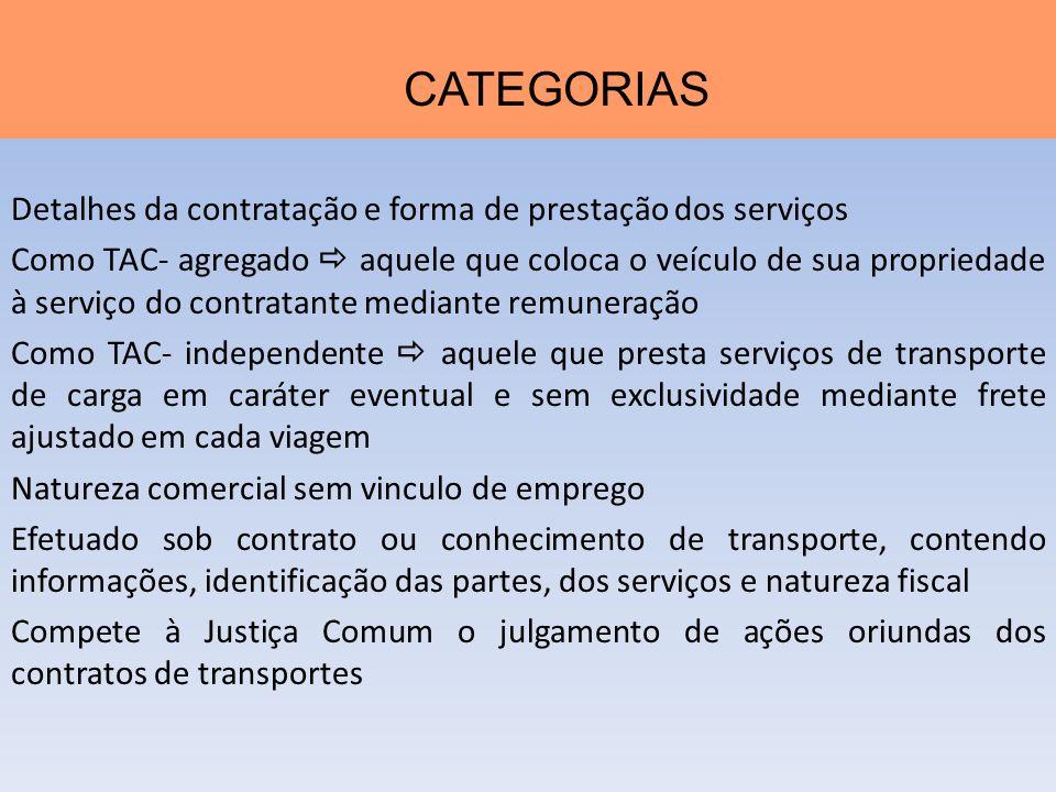 Detalhes da contratação e forma de prestação dos serviços Como TAC- agregado aquele que coloca o veículo de sua propriedade à serviço do contratante m