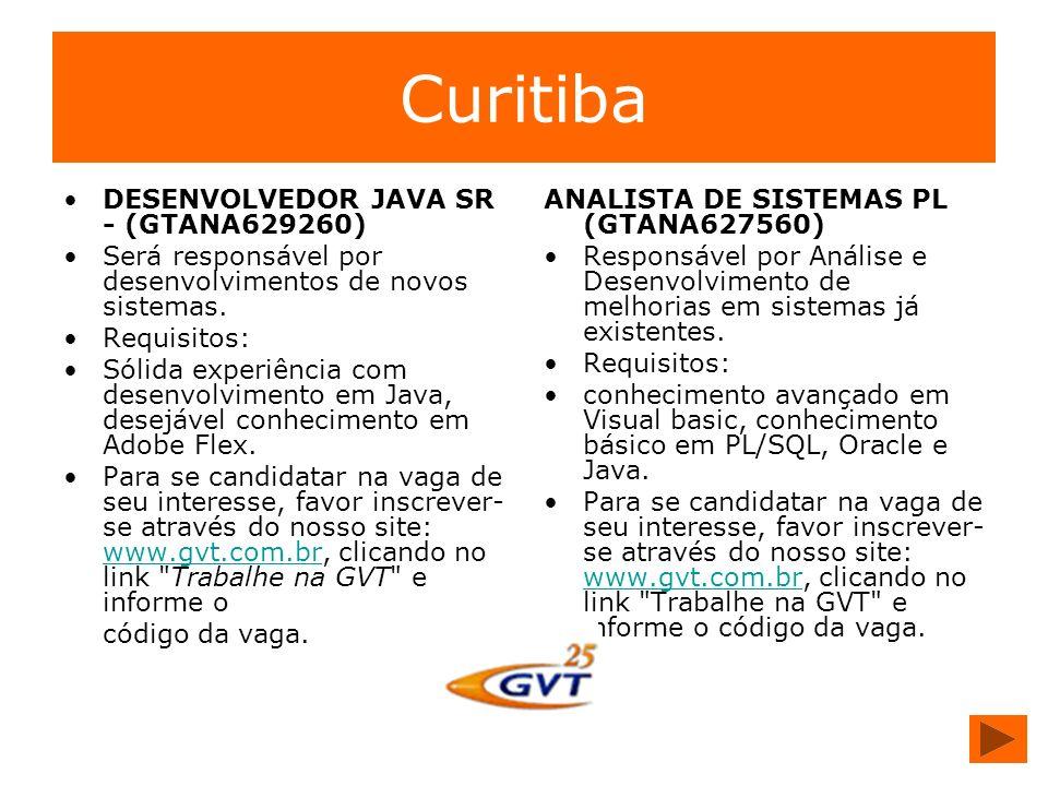 Curitiba DESENVOLVEDOR JAVA SR - (GTANA629260) Será responsável por desenvolvimentos de novos sistemas. Requisitos: Sólida experiência com desenvolvim