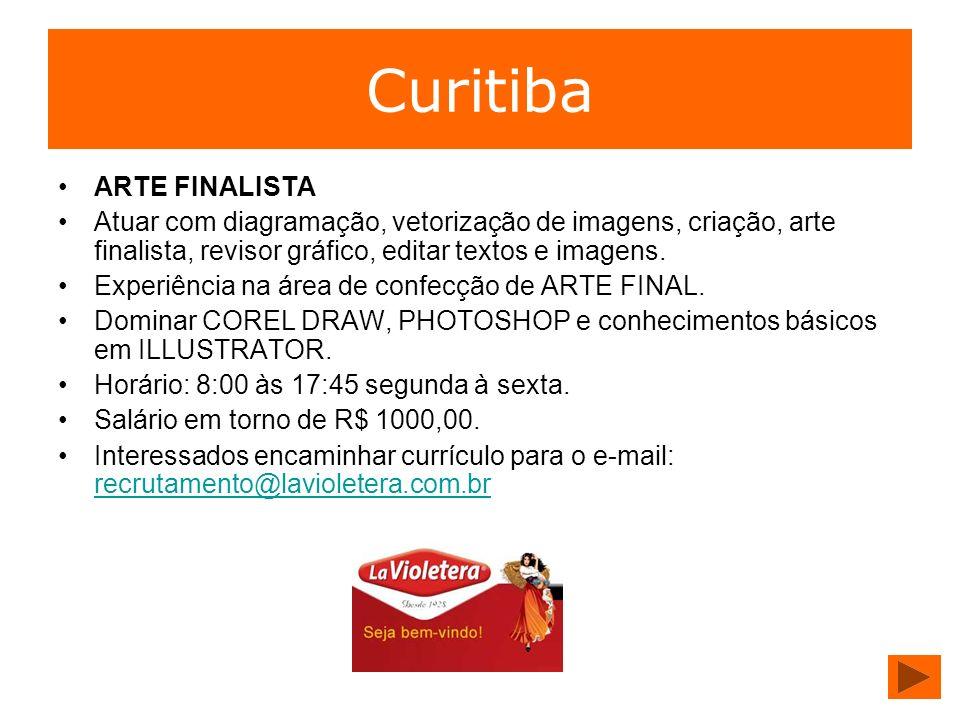 Curitiba ARTE FINALISTA Atuar com diagramação, vetorização de imagens, criação, arte finalista, revisor gráfico, editar textos e imagens. Experiência