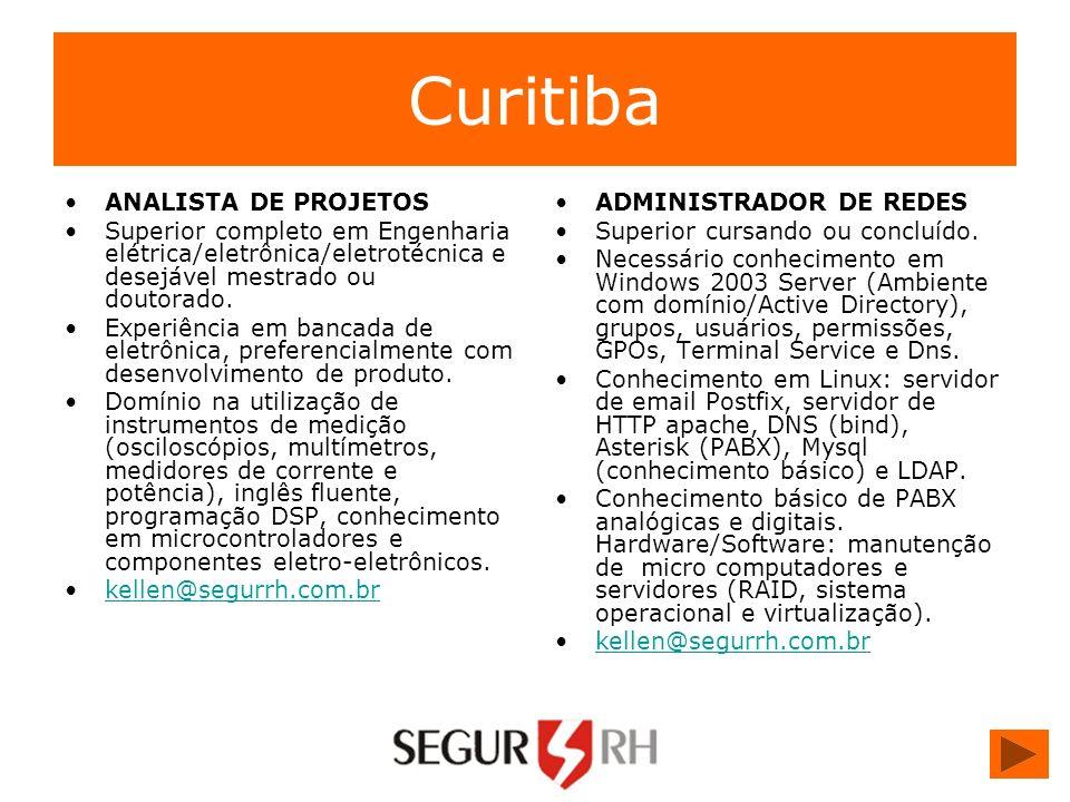 Curitiba ANALISTA DE PROJETOS Superior completo em Engenharia elétrica/eletrônica/eletrotécnica e desejável mestrado ou doutorado. Experiência em banc
