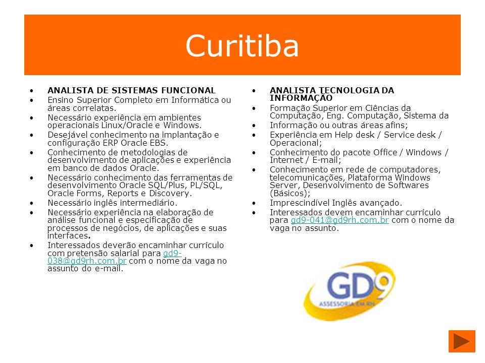 Curitiba ANALISTA DE SISTEMAS FUNCIONAL Ensino Superior Completo em Informática ou áreas correlatas. Necessário experiência em ambientes operacionais