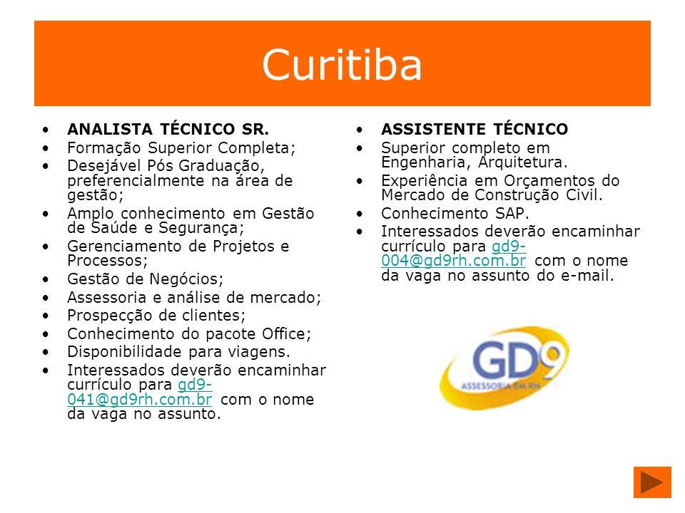 Curitiba ANALISTA TÉCNICO SR. Formação Superior Completa; Desejável Pós Graduação, preferencialmente na área de gestão; Amplo conhecimento em Gestão d