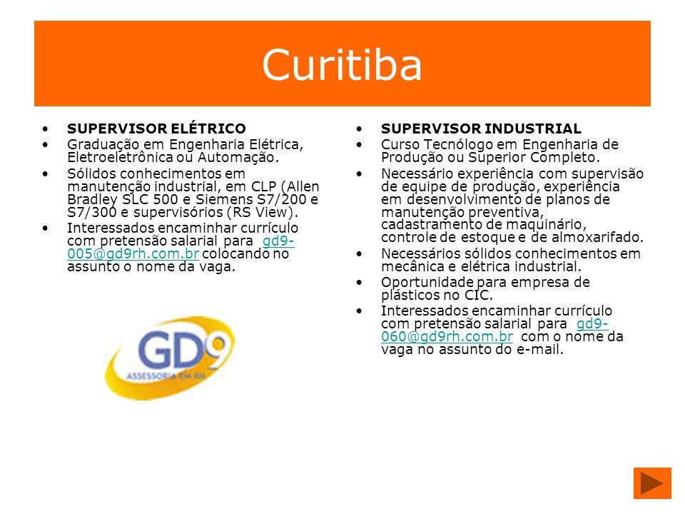 Curitiba SUPERVISOR ELÉTRICO Graduação em Engenharia Elétrica, Eletroeletrônica ou Automação. Sólidos conhecimentos em manutenção industrial, em CLP (
