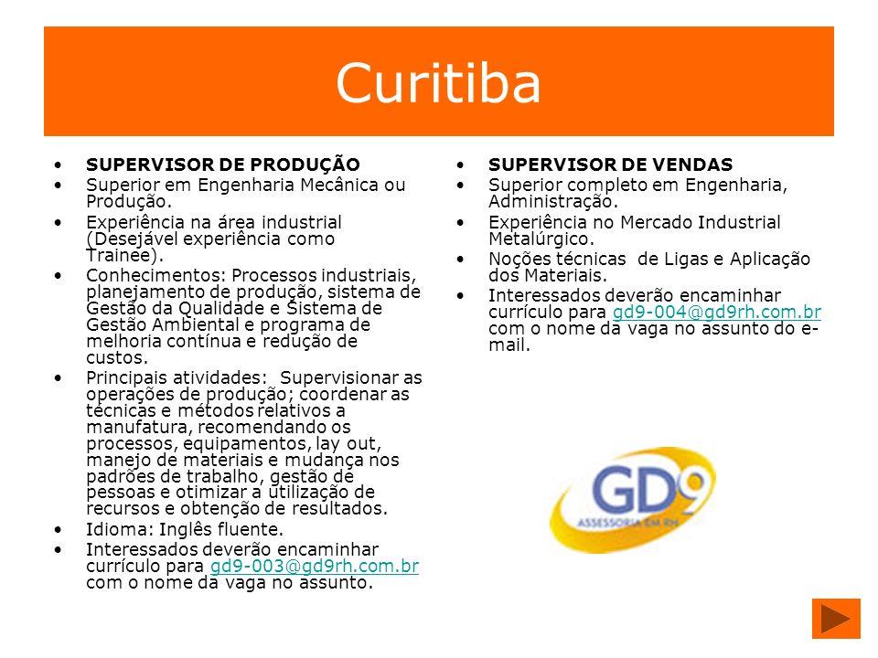 Curitiba SUPERVISOR DE PRODUÇÃO Superior em Engenharia Mecânica ou Produção. Experiência na área industrial (Desejável experiência como Trainee). Conh