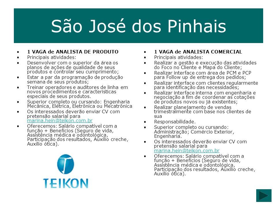 São José dos Pinhais 1 VAGA de ANALISTA DE PRODUTO Principais atividades: Desenvolver com o superior da área os planos de ações de qualidade de seus p