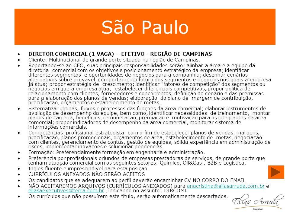 São Paulo DIRETOR COMERCIAL (1 VAGA) – EFETIVO - REGIÃO DE CAMPINAS Cliente: Multinacional de grande porte situada na região de Campinas. Reportando-s