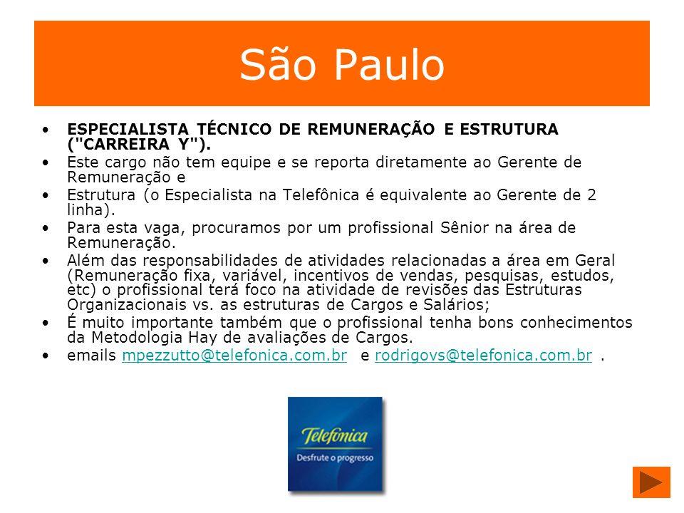 São Paulo ESPECIALISTA TÉCNICO DE REMUNERAÇÃO E ESTRUTURA (