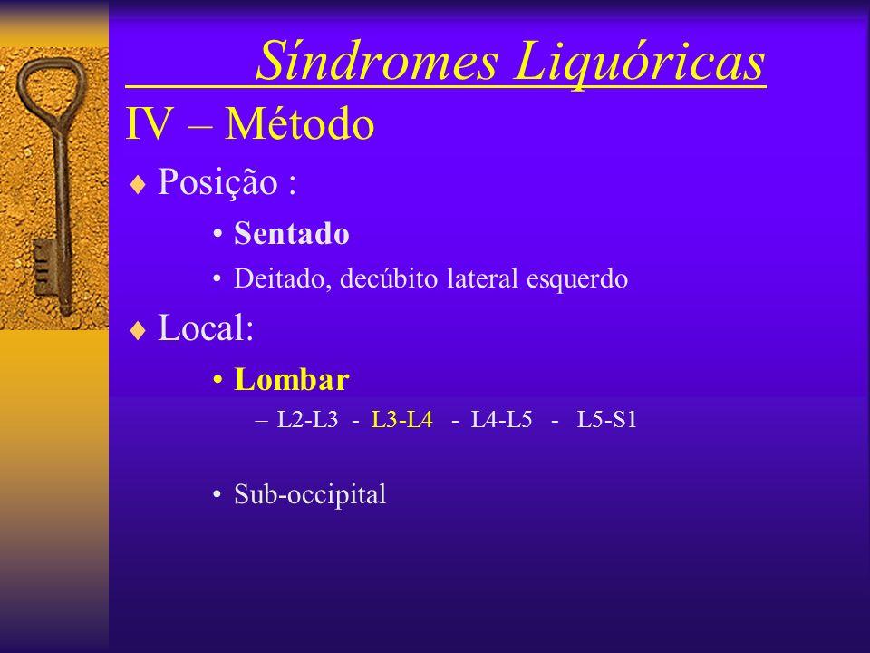 Síndromes Liquóricas III – Contra-indicações Relativas : –Agitação incontrolável –Defeitos anatômicos –Infecção no local –Alterações de coagulação san