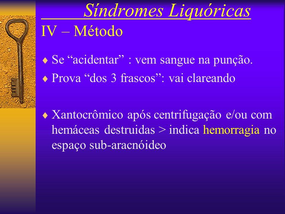 Síndromes Liquóricas IV – Método Padronização para as pressões : –Medir a Pi (pressão inicial) –Retirar cerca de 7 ml –Medir a Pf (pressão final) –Con