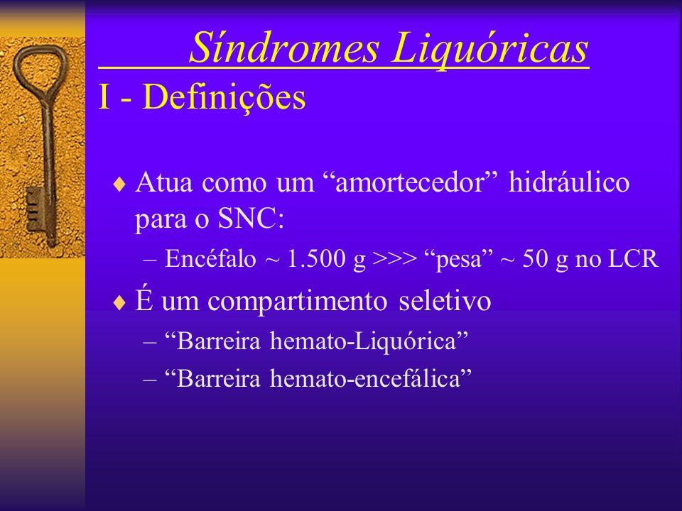 Síndromes Liquóricas I - Definições Atua como um amortecedor hidráulico para o SNC: –Encéfalo ~ 1.500 g >>> pesa ~ 50 g no LCR É um compartimento seletivo –Barreira hemato-Liquórica –Barreira hemato-encefálica