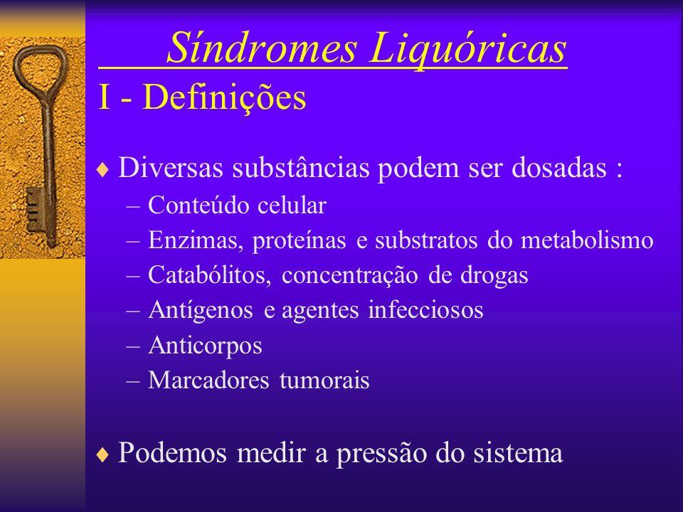 Síndromes Liquóricas I - Definições Atua como um amortecedor hidráulico para o SNC: –Encéfalo ~ 1.500 g >>> pesa ~ 50 g no LCR É um compartimento sele