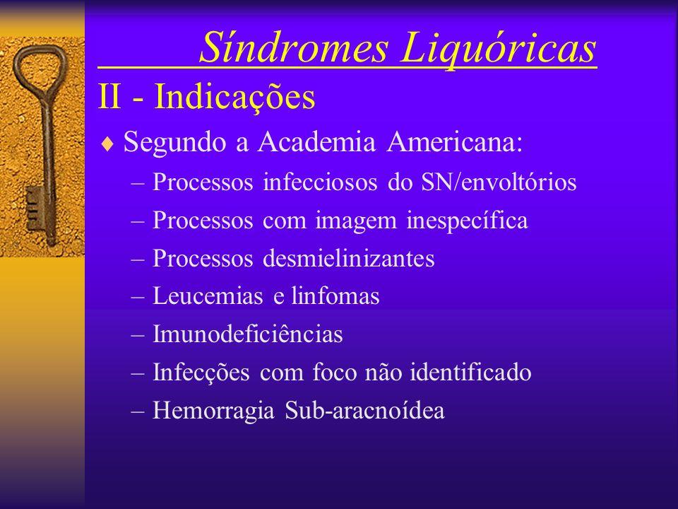 Síndromes Liquóricas II - Indicações Segundo a Academia Americana: –Processos infecciosos do SN/envoltórios –Processos com imagem inespecífica –Processos desmielinizantes –Leucemias e linfomas –Imunodeficiências –Infecções com foco não identificado –Hemorragia Sub-aracnoídea