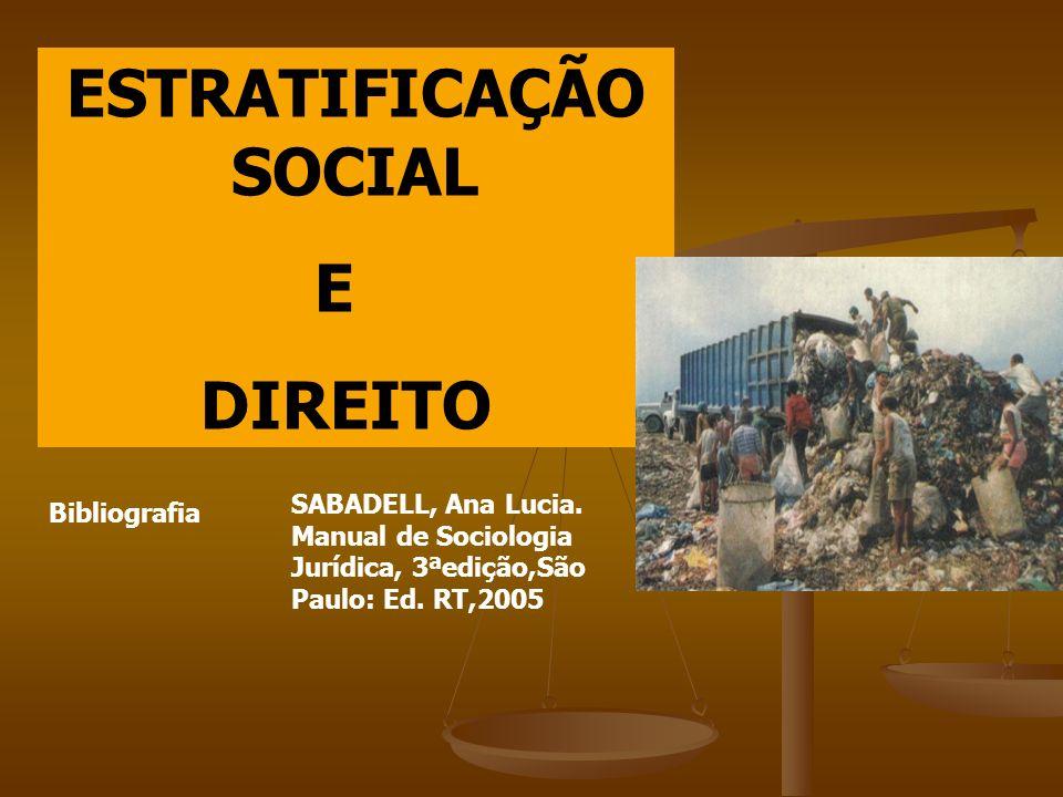 ESTRATIFICAÇÃO SOCIAL E DIREITO Bibliografia SABADELL, Ana Lucia. Manual de Sociologia Jurídica, 3ªedição,São Paulo: Ed. RT,2005