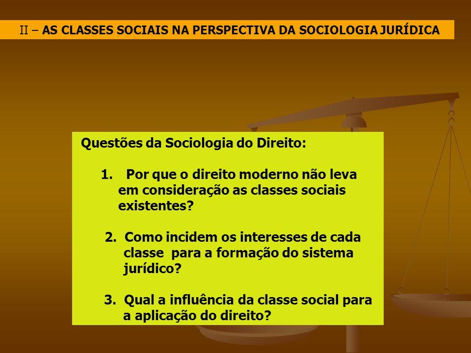 II – AS CLASSES SOCIAIS NA PERSPECTIVA DA SOCIOLOGIA JURÍDICA Questões da Sociologia do Direito: 1. Por que o direito moderno não leva em consideração