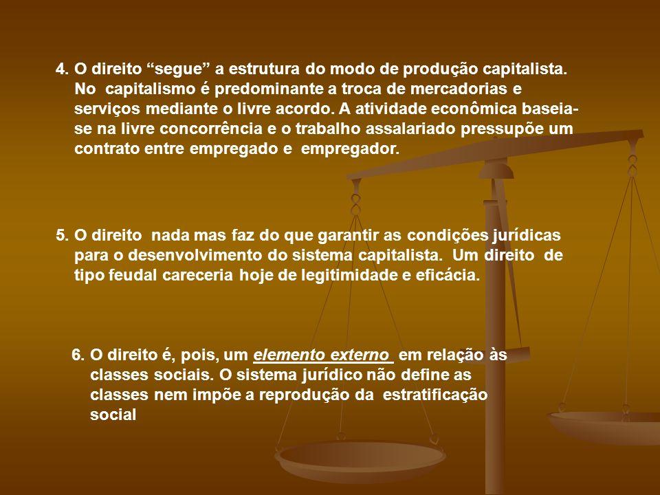 4. O direito segue a estrutura do modo de produção capitalista. No capitalismo é predominante a troca de mercadorias e serviços mediante o livre acord