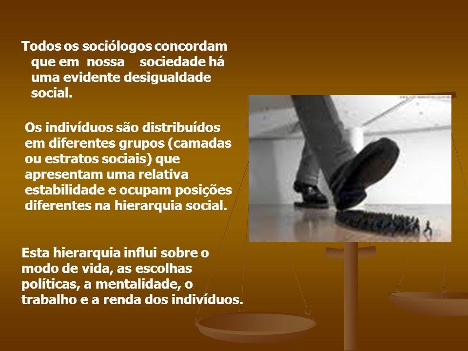 Todos os sociólogos concordam que em nossa sociedade há uma evidente desigualdade social. Os indivíduos são distribuídos em diferentes grupos (camadas