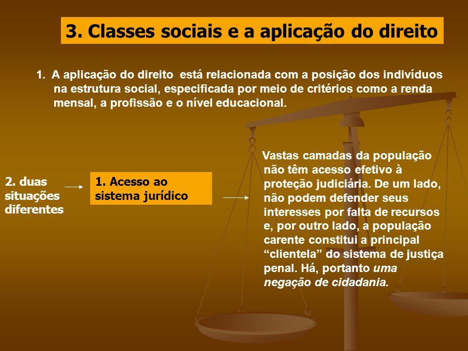 3. Classes sociais e a aplicação do direito 1. A aplicação do direito está relacionada com a posição dos indivíduos na estrutura social, especificada