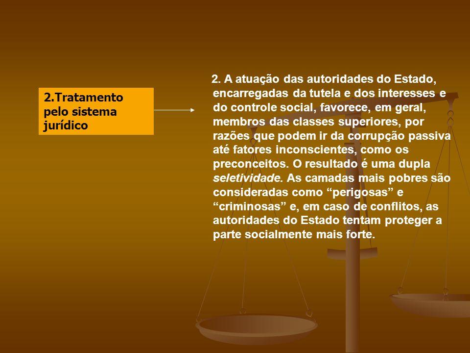 2.Tratamento pelo sistema jurídico 2. A atuação das autoridades do Estado, encarregadas da tutela e dos interesses e do controle social, favorece, em