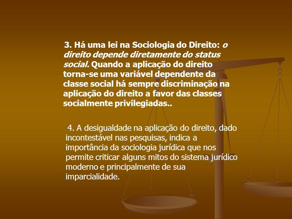 3. Há uma lei na Sociologia do Direito: o direito depende diretamente do status social. Quando a aplicação do direito torna-se uma variável dependente