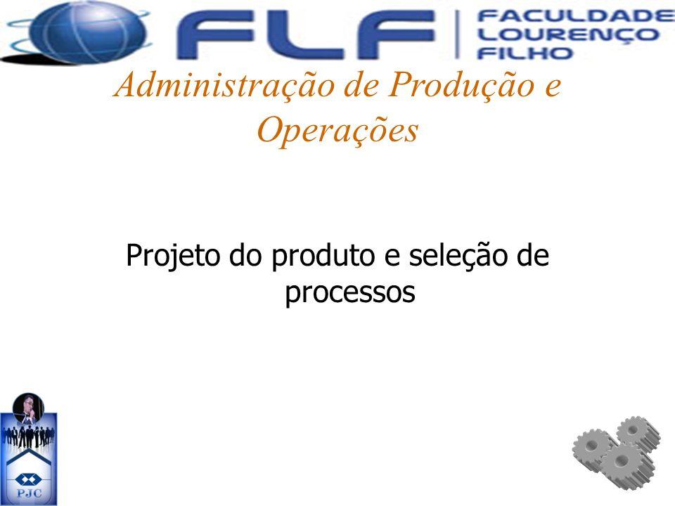 Administração de Produção e Operações Projeto do produto e seleção de processos